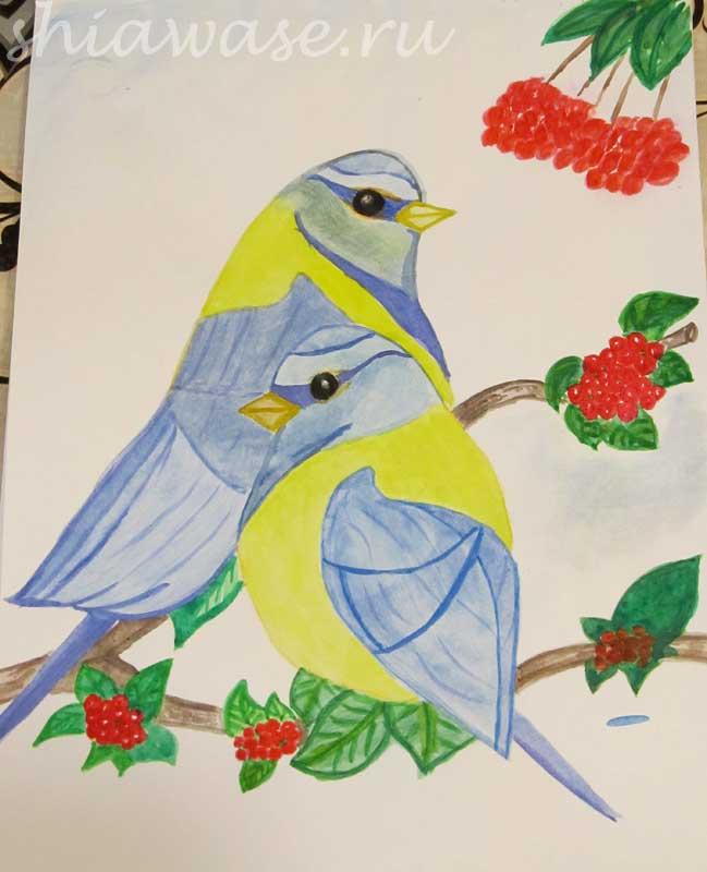 птицы на ветке рисунок