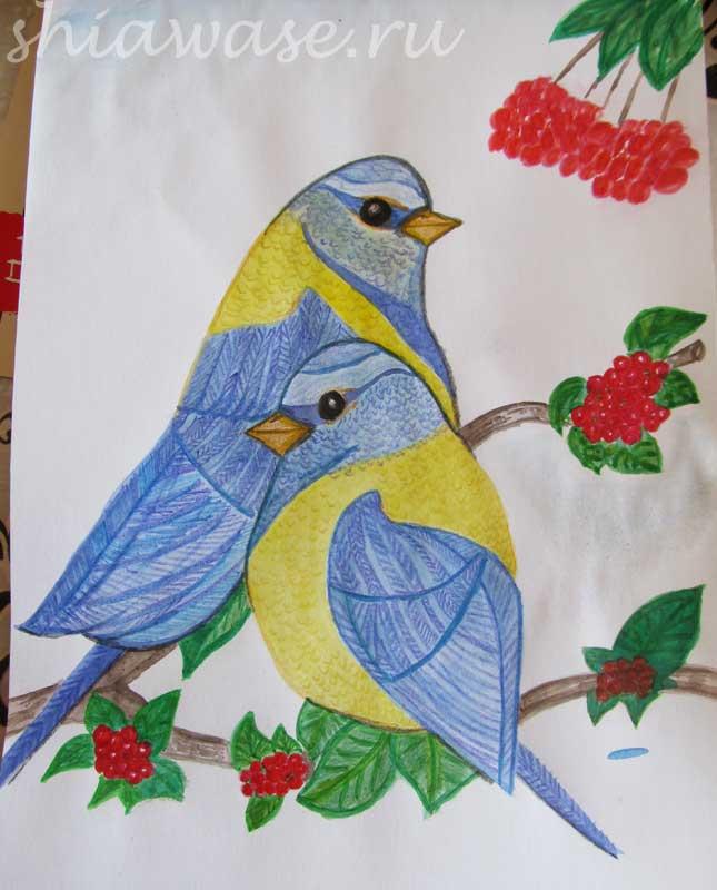птицы на ветке рисунок акварель