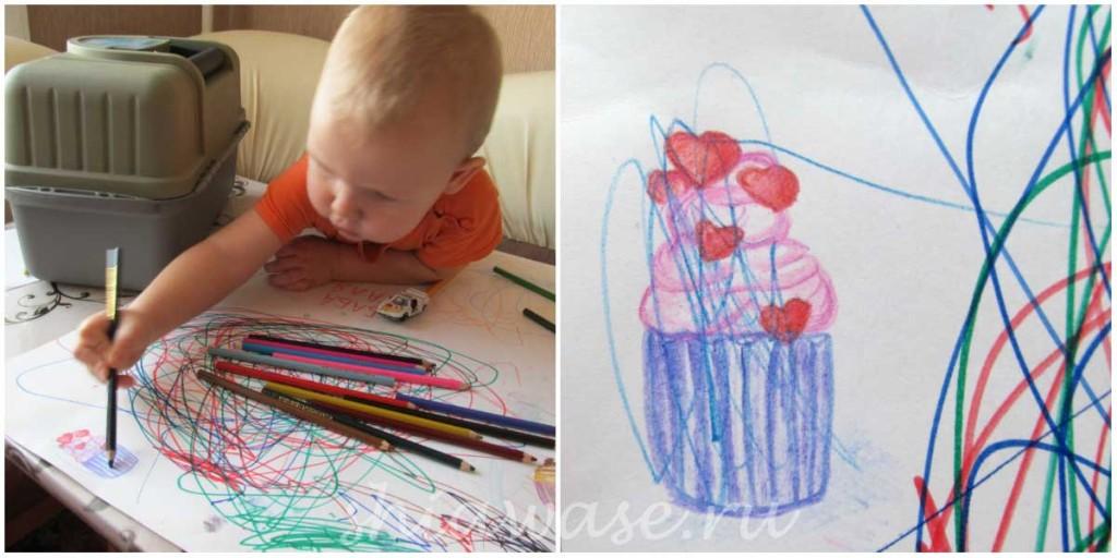 ребенок помогает рисовать