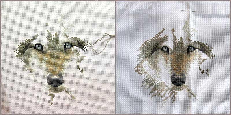 процесс вышивки крестом волки