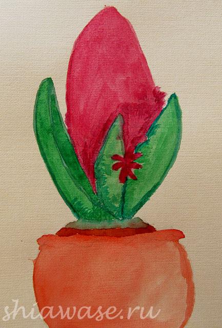 гиацинт-акварельный-рисунок