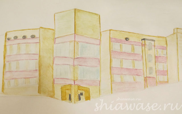 здание-банка_акварельные-карандаши