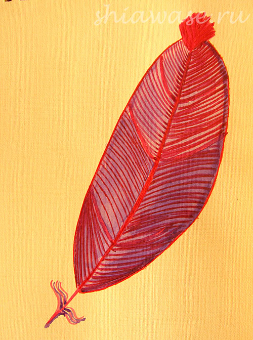 розовое перо акварель