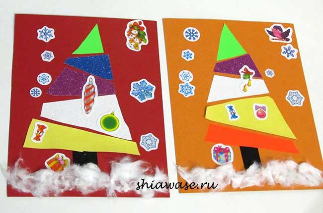 делаем новогоднюю открытку вместе с ребенком