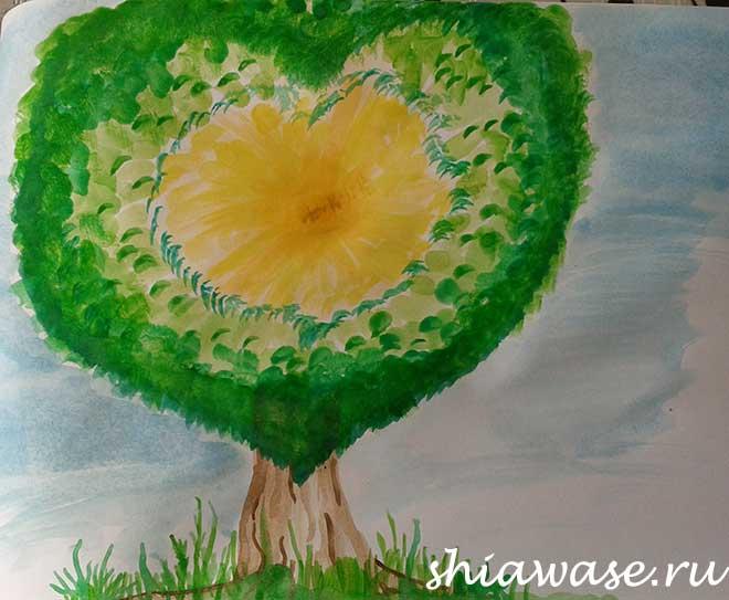 дерево-акварель