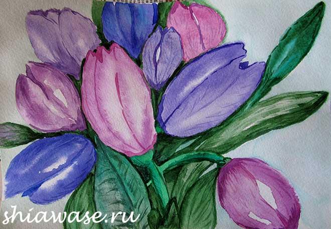 тюльпаны-акварель
