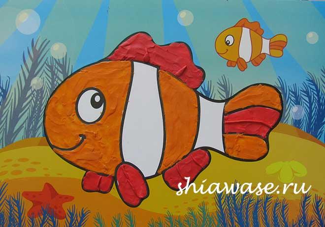 раскраска пластилином-рыбка